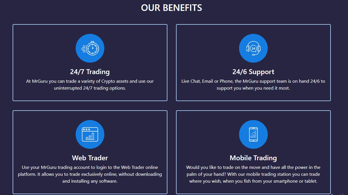 The benefits given to MrGuru traders
